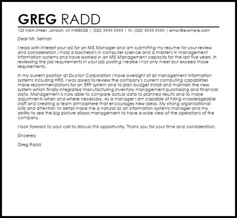 mis manager cover letter sample cover letter templates examples