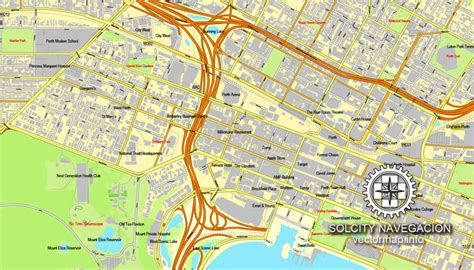 perth australia printable vector street city plan map