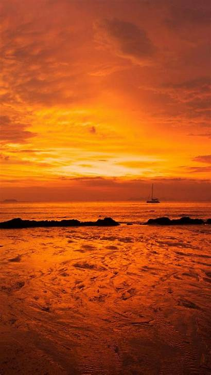 Orange Iphone Wallpapers Beach Desktop Sunset Background