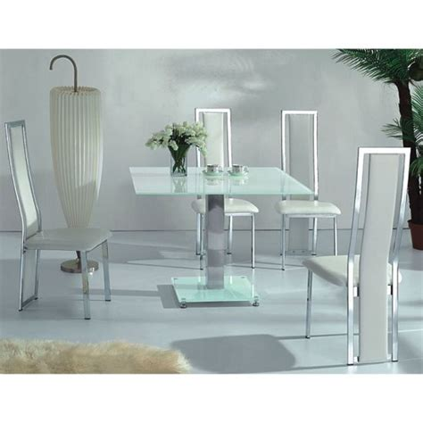 vo1 white glass square dining table with four dining chairs