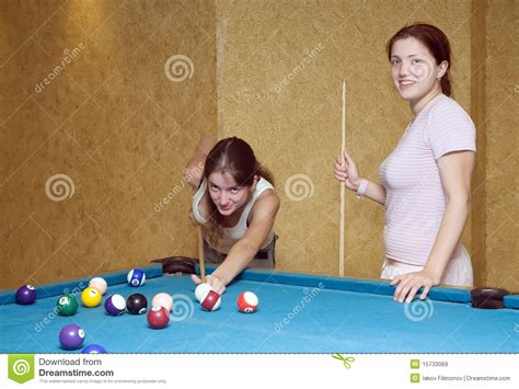 Women Playing Billiards Royalty Free Stock Images - Image