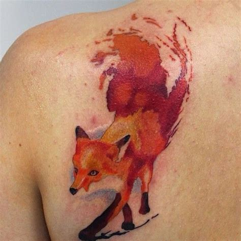cute watercolor fox tattoos