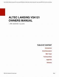 Altec Lansing Vs4121 Manual Pdf