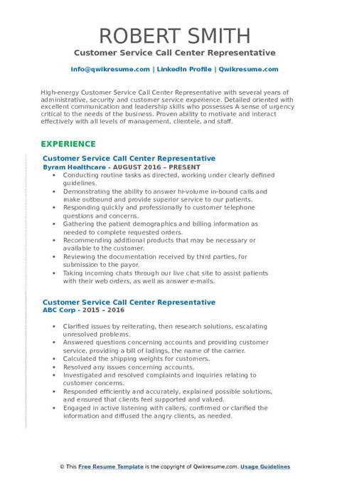 Sle Resume For Call Center Customer Service Representative by Customer Service Call Center Representative Resume Sles