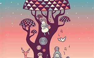 ax18-cute-music-characters-illustration-art-red-wallpaper