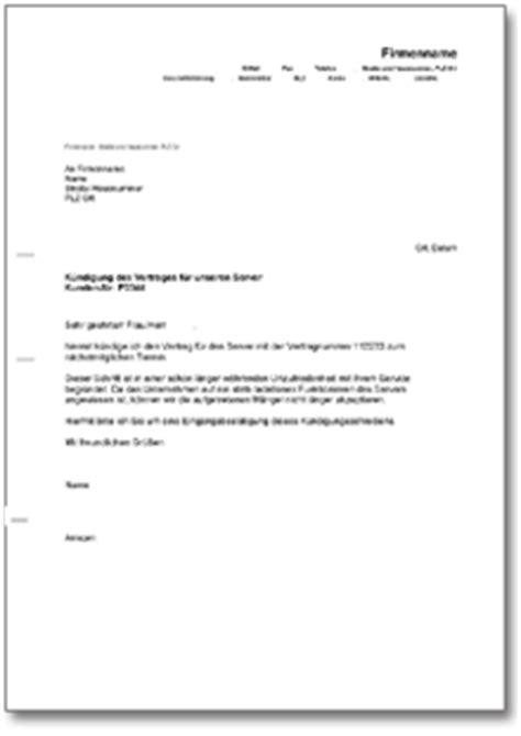 kuendigung eines servers de musterbrief