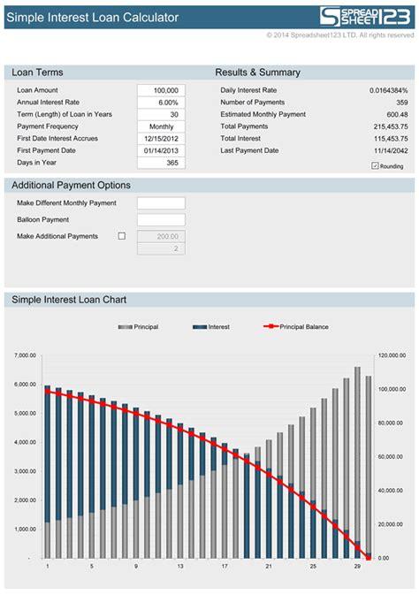 simple interest loan calculator   excel