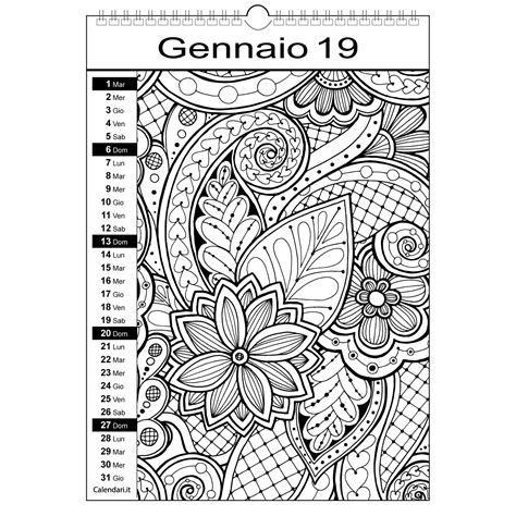 immagini da colorare mandala calendario 2019 da colorare mandala calendari it