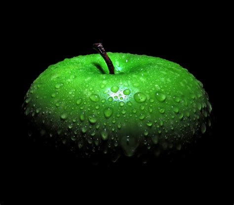 Cool Fresh Image by Water Droplets Green Apples Apples Black Background