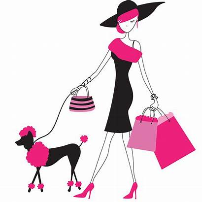 Paris Clipart Clip Pink Background Lady Shopping