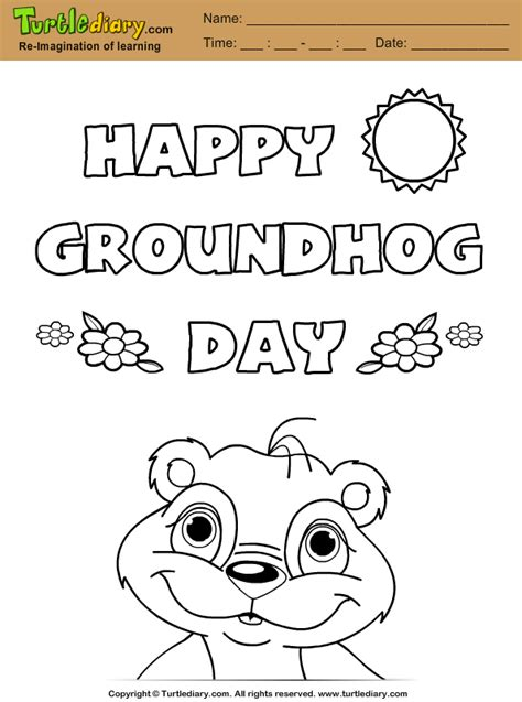 happy groundhog day coloring page turtle diary