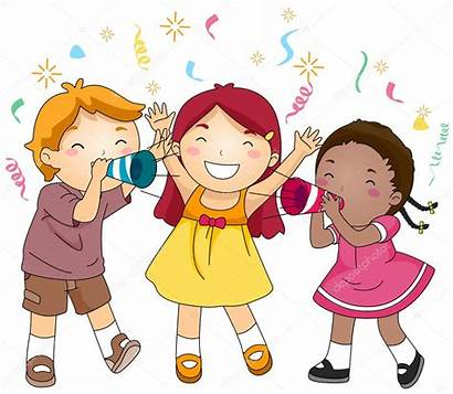 Party Celebration Blowing Trumpets Paper Illustration Vector