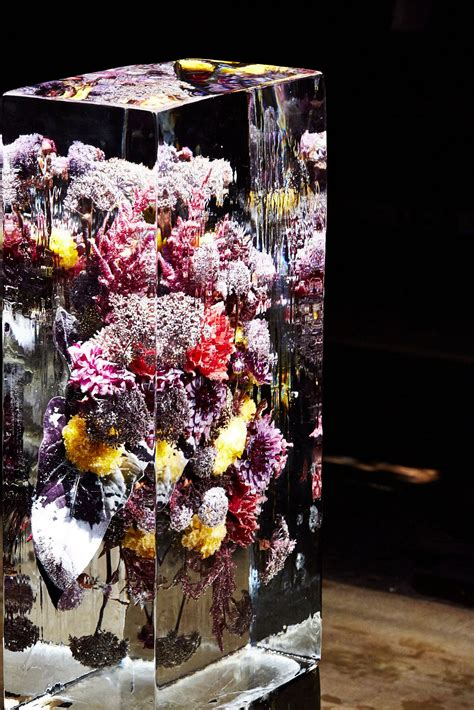 japanese artist brought  sculptures  paris fashion week flower installation flower