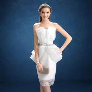 robe de cocktail pour mariage robe de cocktail pas cher pour mariage en tulle blanche avec drapé bilatéral superposé et jupe