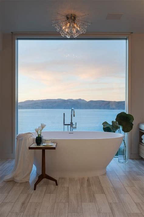 picture window tub transitional bathroom
