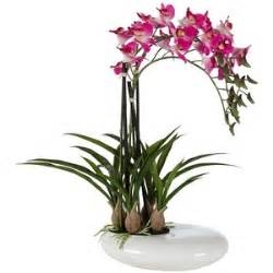 silk orchids three stem faux purple orchid in white pot polyvore