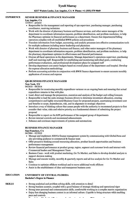 Finance Manager Resume by Business Finance Manager Resume Sles Velvet