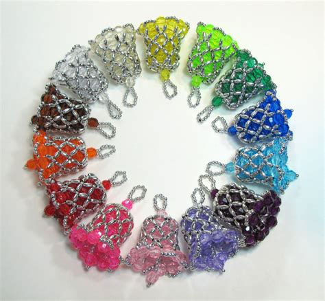 customized beaded bell ornaments in many colors