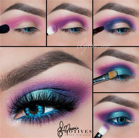 electric neon turquoise blue purple pink eye makeup