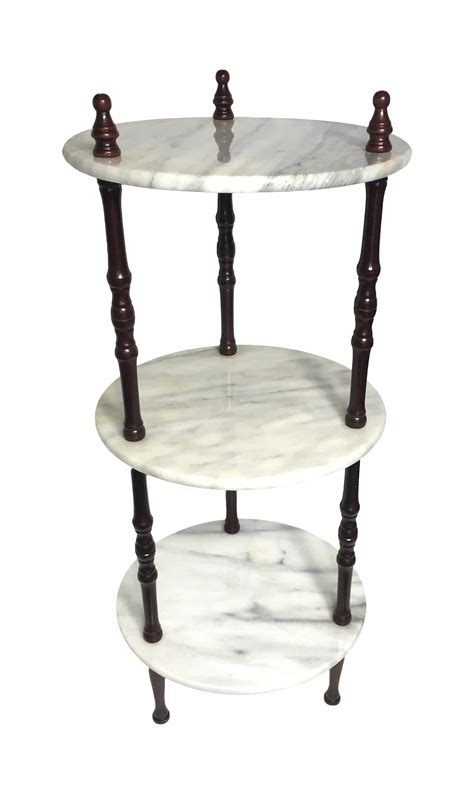 mid century  tier marble table plant stand chairish