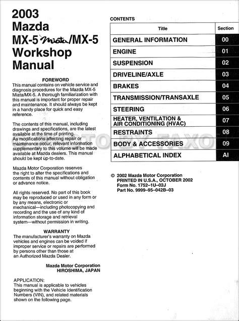 car engine repair manual 2003 mazda miata mx 5 navigation system 2003 mazda mx 5 miata repair shop manual original
