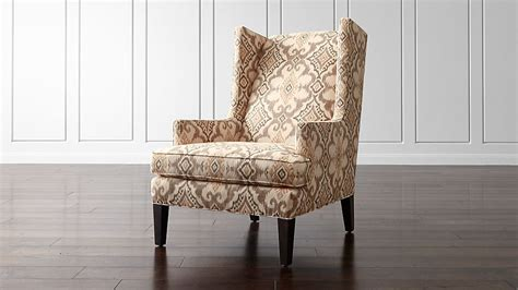 luxe wingback ikat chair reviews crate  barrel