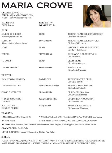 Resume For Actors by Acting Resume Image Romeo Actor
