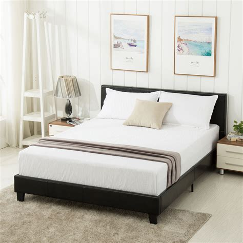 Leather Bed Headboard by Size Faux Leather Platform Bed Frame Slats