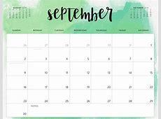 Free September 2018 Blank Printable Calendar Template