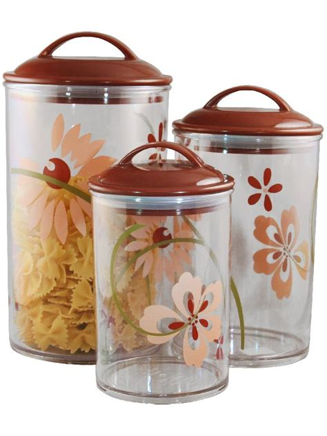 clear kitchen canisters 3 corelle clear acrylic canister set see thru storage jars choose your pattern ebay