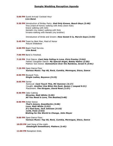 wedding agenda template wedding reception program sle templates sle wedding reception agenda pdf reception