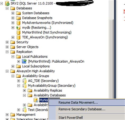 setting up replication on a database that is part of an