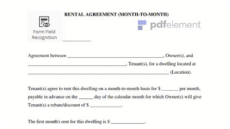 Rent A For A Day by Month To Month Rental Agreement Template Edit