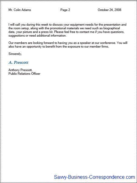 page business letter second page with properly