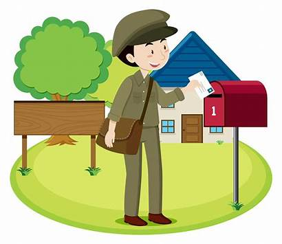 Postman Vector Letter Clipart Mail Delivery Cartoon
