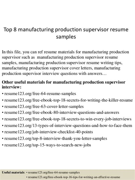 code of practice templates for an it industry top 8 manufacturing production supervisor resume sles