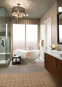 Contemporary, Spa, Bathroom, With, Glass, Shower, Enclosure, With, Marble, And, Modern, Soaking, Tub
