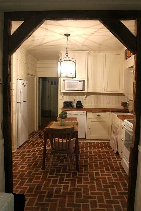white kitchens  readers cook  brick floor kitchen