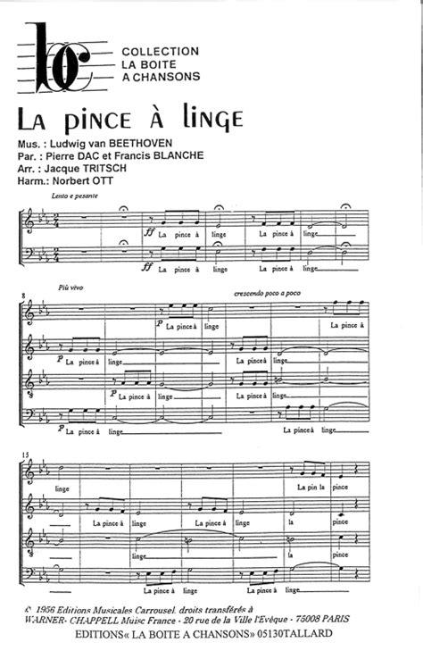 la pince a linge partition partition de musique 233 diteur de partitions pour chorale