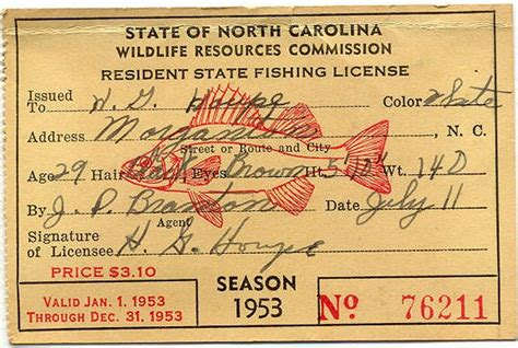 fishing license carolina north fish hunting print licenses signs nc michigan wgsn gone 1953 tilapia state guide bearcaster inspiration western
