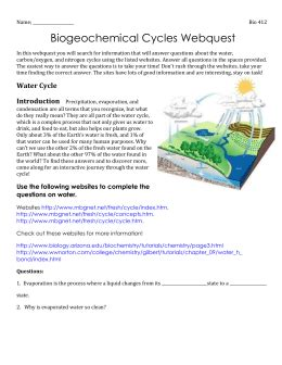 Introduction to how water, carbon, nitrogen, and phosphorus are cycled through ecosystems. Biogeochemical Cycles Webquest