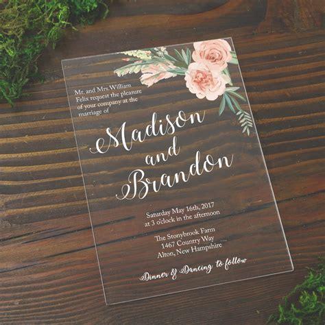 bouquet acrylic wedding invitation   glitters