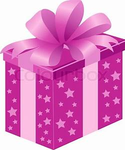 Pink gift box with bow Stock Vector Colourbox