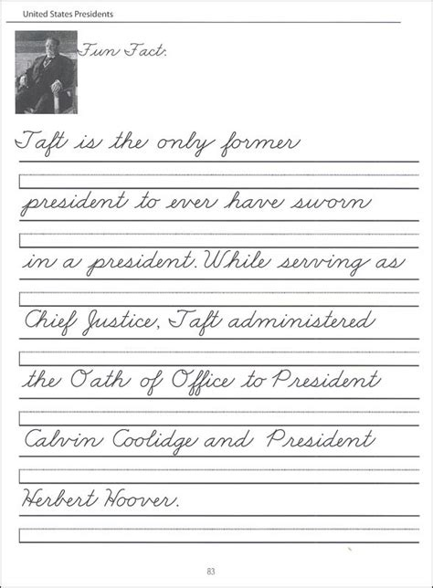 45 United States Presidents Character Writing Worksheets Zanerbloser Beginning Cursive