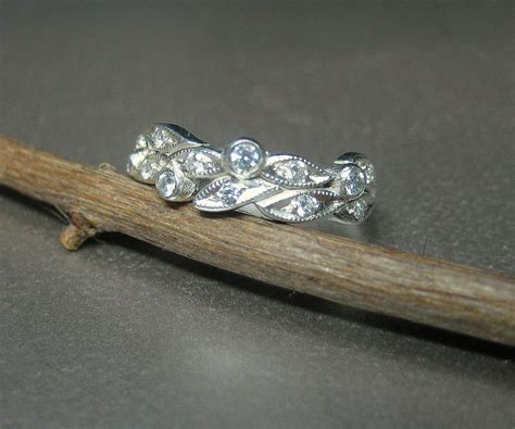 crafted leaf engagement ring wedding ring 14k white