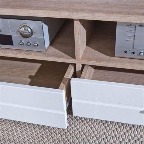 meuble tv blanc et bois meubles tv meubles et rangements meuble tv absoluto 2 tiroirs et 2 niches en bois blanc