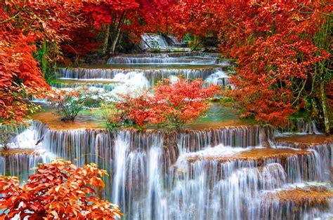Thailand Seasons Autumn Waterfall Kanchanaburi Province Nature Wallpapers Hd Desktop And