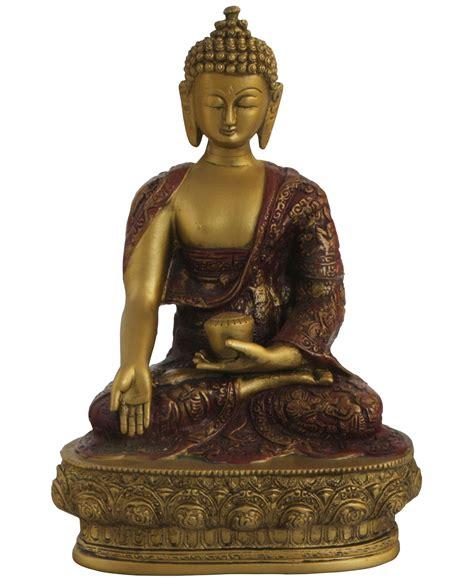 Gold Colored Nepali Buddha Statue, 12 Inches