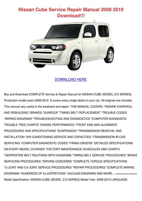 service and repair manuals 2010 nissan cube parking system nissan cube service repair manual 2009 2010 d by dulcie stanchfield issuu