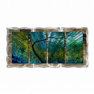shop all my walls 48 in w x 235 in h frameless metal With kitchen cabinets lowes with abstract metal art wall decor